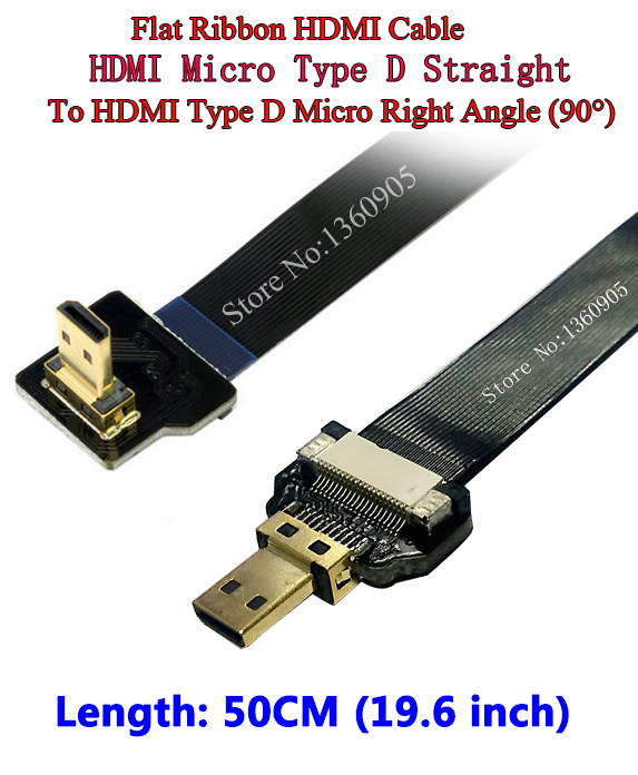 50CM 19.6'' FPV Ultra Thin Ribbon HDMI Cable Type D Straight Male to up Angled 90 Degree Male Type D HDTV FPC Flex Soft Cable 30cm thin hdmi ribbon flat cable straight type a male to male type c2 mini up angle 90 degree super flexible cable fpv 11 8inch