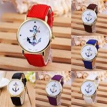 Высококлассные роскошные модные женские часы, кварцевые женские модные винтажные часы с якорем, кожаные кварцевые часы