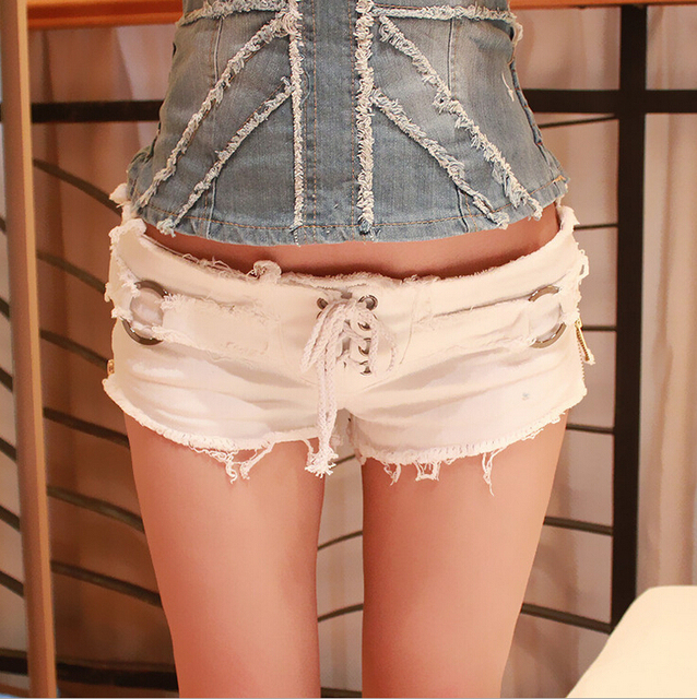 2015 Summer New Hot Ladies Sexy Club Bandage Zipper Super short Feminino Knickers mini disco Mujer denim jeans Low Waist shorts 4