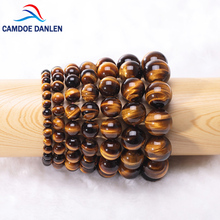 Natural Crystal 6 8 10 12 14 16mm Tiger Eye Gem Beads Tibetan Buddha Prayer Mala Charm Yoga Bracelet For Men Buddhist Jewelry