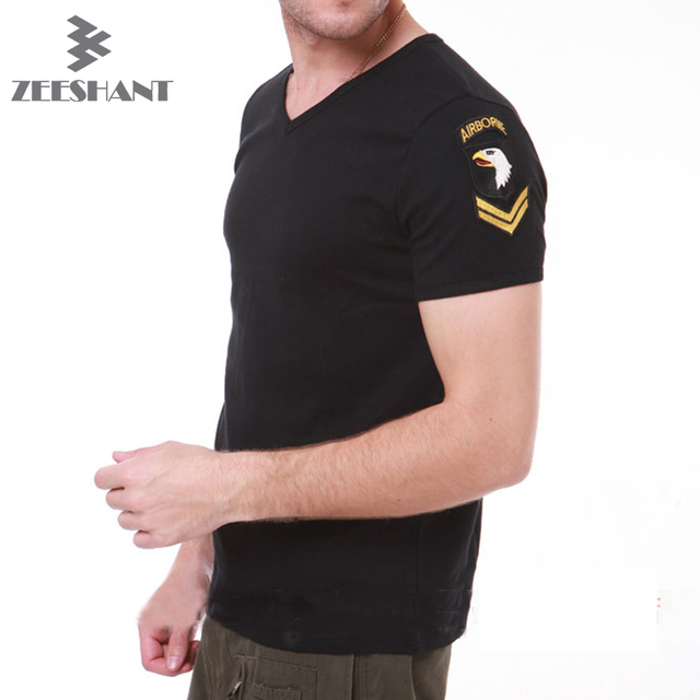 ZEESHANT Army Green Military US Army Tactical V Neck T Shirt Men Brand Famous Fitness Slim Fit Compression Cotton Men T-Shirt
