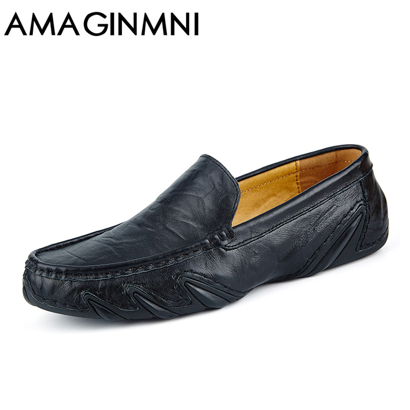 AMAGINMNI Fashion British Style Men Causal Shoes Genuine Leather Slip On Men Shoes High Quality Outdoor Shoes Zapatos Hombre