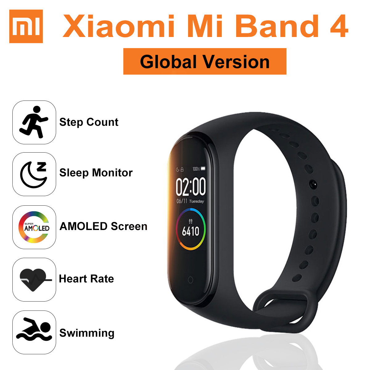 GLOBALE VERSION Original Xiao mi mi Band 4 <font><b>Smart</b></font> Uhr Armband Amoled bluetooth 5,0 Wasserdicht Herz Rate Fitness Sport Armband image