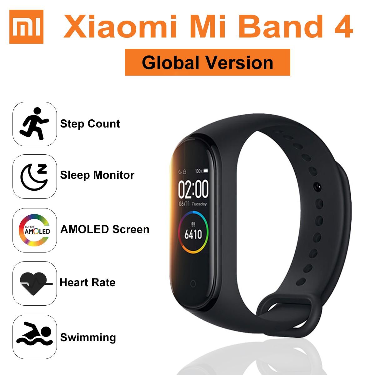 VERSION mondiale Original Xiao mi bande 4 montre intelligente Bracelet Amoled bluetooth 5.0 étanche fréquence cardiaque Fitness Sport Bracelet