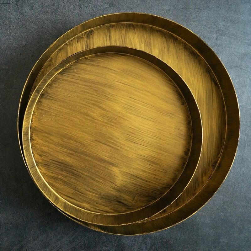 Plateau en or pour outils de gâteau Dessert décorateurs plaque en métal brossé pour la décoration de la maison ustensiles de cuisson accessoires de photographie