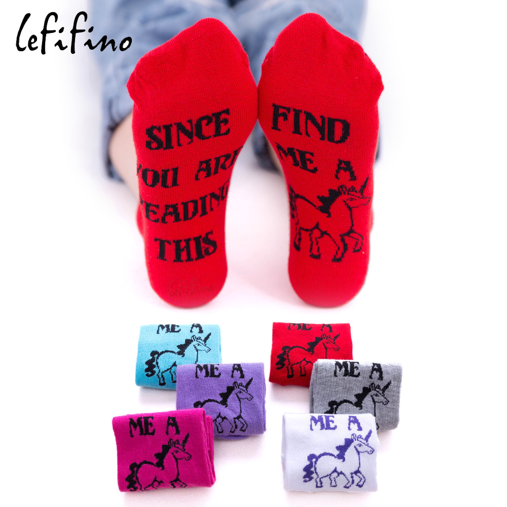 New Brand Cotton Summer Autumn Women Cotton   Socks   Letter SINCE YOU ARE READING THIS BRING ME A Unicorn Funny   Socks   Ne71940