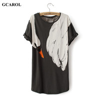 GCAROL Women Animal Fox Swan Print Tshirt Casual Fashion Summer Spring Basic Tops Girl's Street Wear Tees