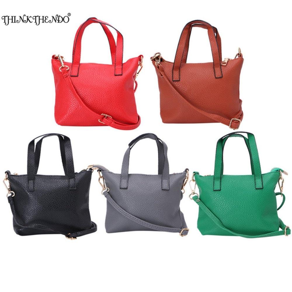 THINKTHENDO Women New Fashion Retro Handbag Faux Leather Shoulder Bag Satchel Messenger Purse Tote Black 5 Color