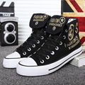 2016 новый высокое качество мужской обуви высокого верха обуви холст письмо черно-белой печать мода свободного покроя обувь дышащая all-матч размер 39 - 44