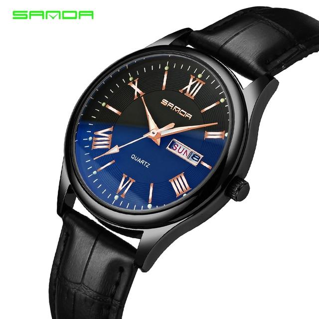 17408778773 Sanda Fashion Quartz Watch Men Casual Business Leather Strap Classic Roman  Numerals Blue Glass WristWatches Relogio Masculino
