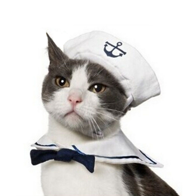 1 Set Pet Cat Dog Cotton Caps Gentleman Bow Tie Cloth Navy Sailor Suit England Style Warm Ornament Tie For Cosplay Party