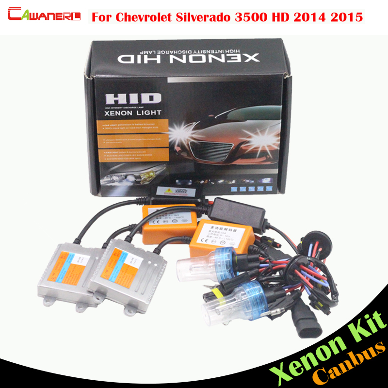 Cawanerl 55W Car Canbus Light HID Xenon Kit Ballast Bulb AC Auto Headlight Low Beam For Chevrolet Silverado 3500 HD 2014 2015