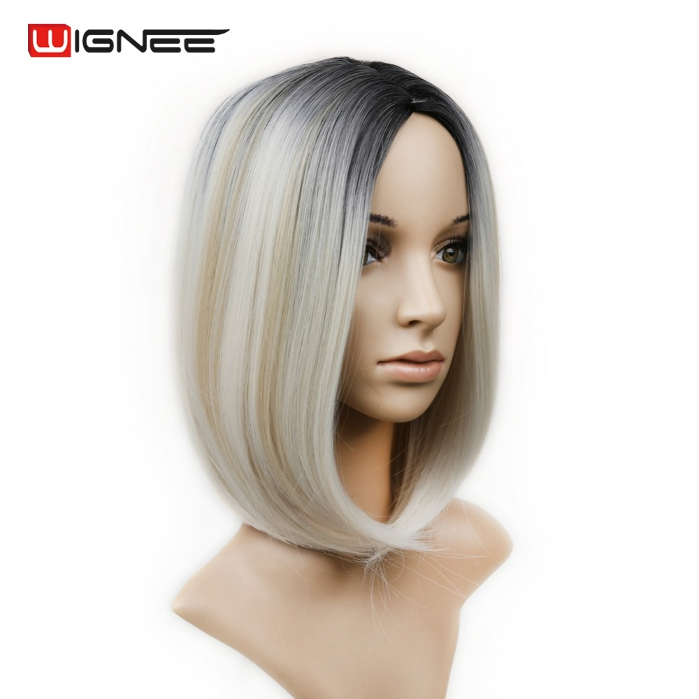 Ladies Hairstyles ladies hairstyles Ladies Short Straight Bob Synthetic Hair Heat Natural Black To Mixed Ash Blonde White Grey Highlights