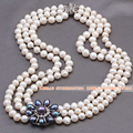 Handmade Elegant Multi Strands 7-8mm Natural White Freshwater Pearl Beads Necklace With Black Pearl Rhinestone Flower Charm
