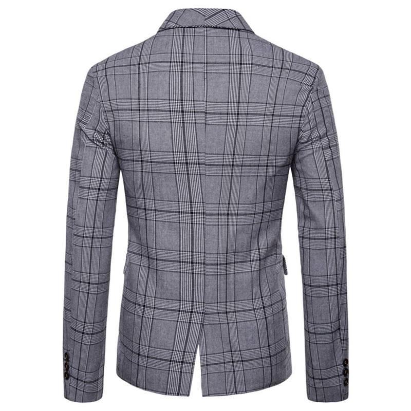 Men`s New Fashionable Checked Double-Breasted Suit Jacket Button Lattice Coat Casual Suit Jacket Men Slim Male Suit L15# (6)