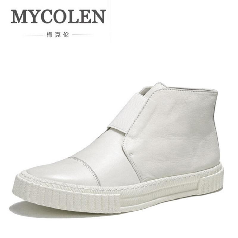 MYCOLEN High Quality Men Sneakers Classic White Men Shoes Solid Men Winter Casual Shoes Flats High Top Handmade Shoes Sapatenis gram epos men casual shoes top quality men high top shoes fashion breathable hip hop shoes men red black white chaussure hommre