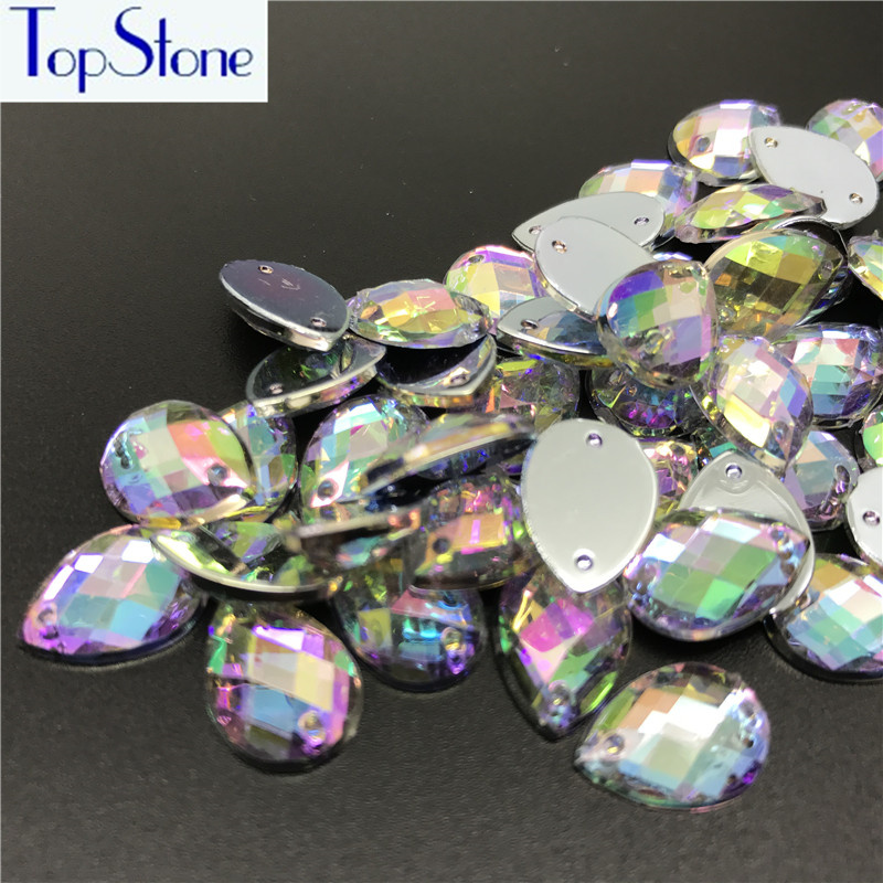 All Sizes Teardrop Sewing Crystal AB Flatback Rhinestones Sew On Acrylic  Stones Droplet Strass Crystals For DIY Dress Clothing-in Rhinestones from  Home ... 75aac14a289d