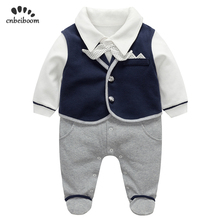 Newborn romper gentleman suits vest + rompers 2 pcs sets baby first  birthday party 100% cotton jumpsuit infant toddler clothes