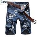 Мужская летом мультфильма печатных колен джинсовые шорты Мужские случайные тонкий отверстие разорвал джинсы Капри