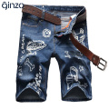 Men's summer cartoon printed knee length denim shorts Male casual slim hole ripped denim jeans Capri