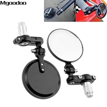 Black Motorcycle 3 Round Side Mirror 7/8 Handle Bar End Mirrors Rearview Retrovisor Moto For Cafe Racer Accessories