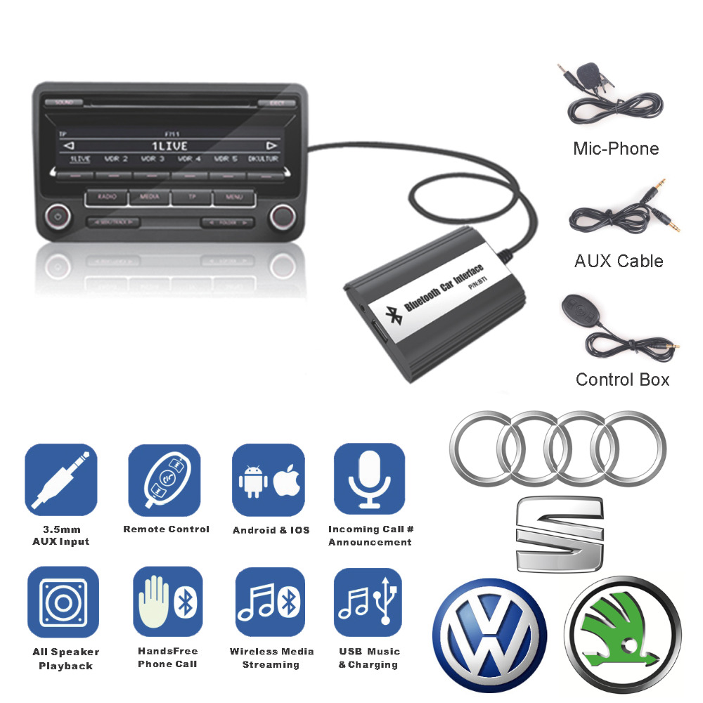 Bluetooth Receiver Car Kit Hands Free Phone Call Wireless Music Adapter for 2007-2010 Audi A3 A4 S4 TT R8