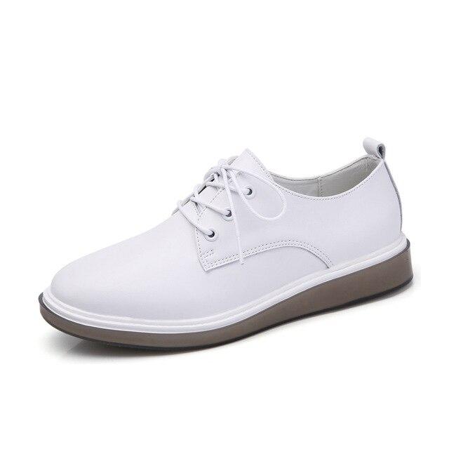 San Francisco e5ae3 e5c69 US $23.7 48% di SCONTO|YAERNI delle donne oxford scarpe ballerina  appartamenti scarpe bianche delle donne del Cuoio genuino lace up scarpe da  barca ...