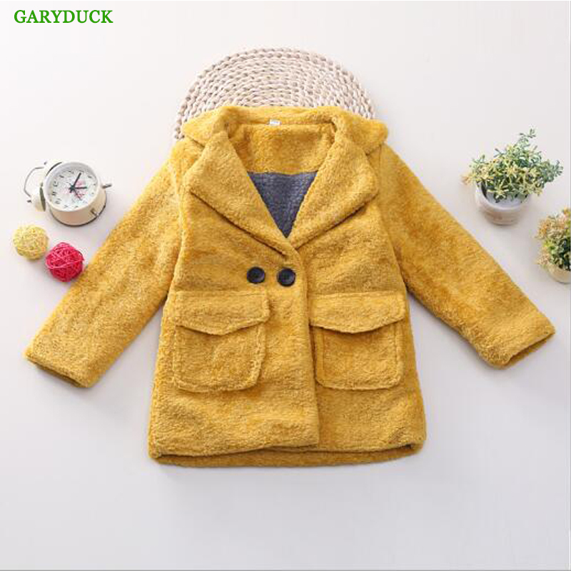GARYDUCK 2017 New Autumn/Winter Girls Woolen Coat Fashion Baby Girls Wool blazer Jackets Children Outwear Solid trench Coat