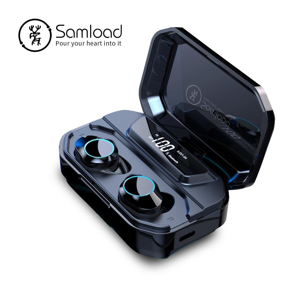 Samload True casque stéréo sans fil Bluetooth écouteurs écouteurs Hifi son avec 3000 mAh Charge boîte Powerbank pour ios Android