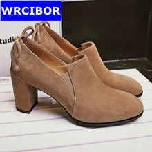 2017 NEW vintage Women Oxford shoes Suede leather Round toe Cow Muscle bottom high heels fashion Retro women pumps shoes