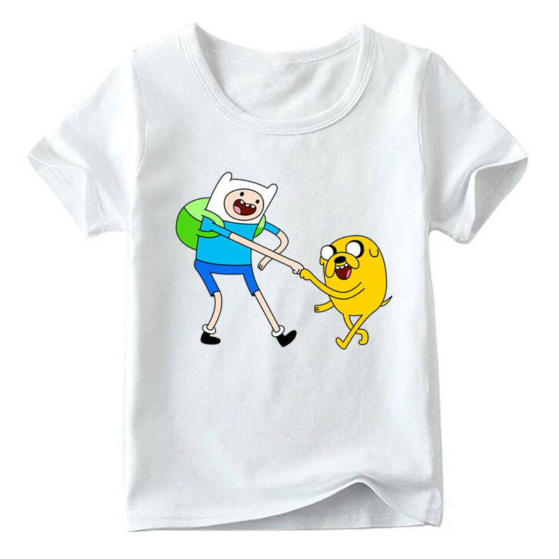 Boys and Girls Cartoon Adventure Time Finn and Jake Design T shirt Kids Summer White Tops Children Funny T-shirt,HKP5200 blue and white stripe pattern shirt in fashion design