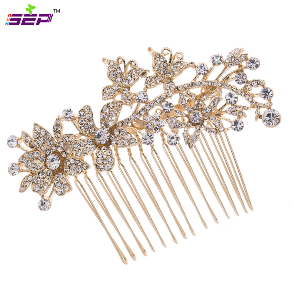 2016 Hot Sale Hair Combs Trendy Plated Plant Rhinestone Hair Comb Bridal Women Wedding Accessories Jewelry 2256r