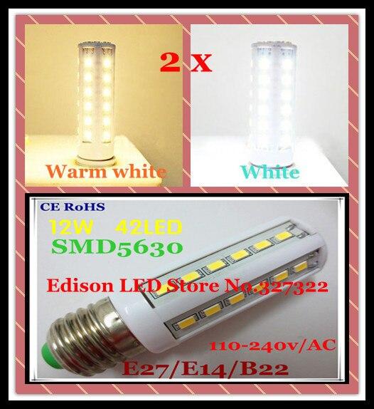 Free shipping 2 pcs12W 42 LED 5630 5730 SMD E27 E14 B22 high power LED Corn Bulb Light Maize spotlight Lamp LED Bulb Lighting
