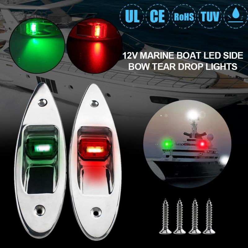Image 2 - 1 Pair 12V Flush Mount Marine Boat RV Side Navigation Light Red Green LED Stainless Steel Yacht Side Bow Tear Drop Lamp-in Marine Hardware from Automobiles & Motorcycles