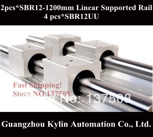 цены  Best Price! 2 pcs SBR12 1200mm linear bearing supported rails+4 pcs SBR12UU bearing blocks for CNC