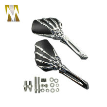 Classic Black Housing chrome Skull Side Rear View Mirrors Fit For Harley Davidson Sportster Fatboy Electra