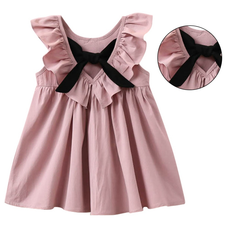 Kids Summer 2017 New Princess Style Girls Dress Fashion Fly Sleeve Baby Girls Bow Dress Girl Clothing For Children Cute Dresses new korea style fashion handbag cute kids children fashion brand princess party crossbody bag with gold chain for baby girls