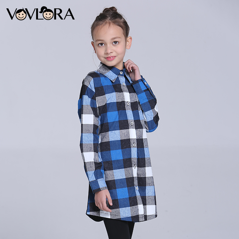 Gilrs Blouse Shirt Plaid Long Children Blouses Cotton Long Sleeve Cartoon Kids Clothes Spring 2018 Size 9 10 11 12 13 14 Years classic plaid pattern shirt collar long sleeves slimming colorful shirt for men