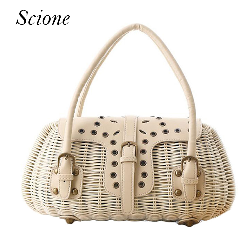 Fashion Bohemia Style Summer Straw Beach Bag Knitted PU Woven Rattan Handbag Bolsas Women Woven Travel Bags Shopping Tote 131574 hand straw tote handbag summer sunflower woven beach bag fashion large capacity women shopping bag patchwork flower straw bags