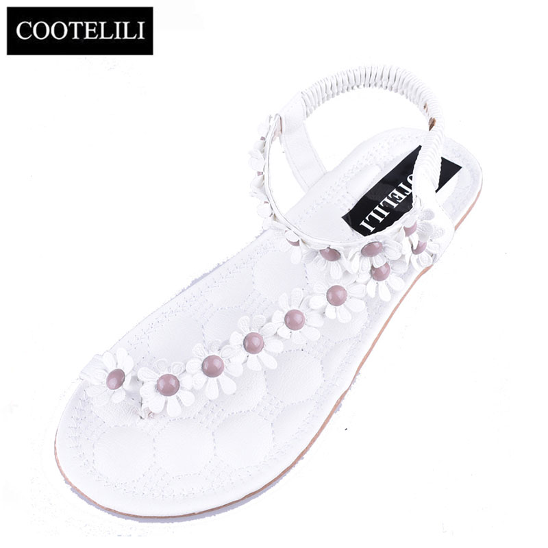COOTELILI 35-39 Shoes Woman Fashion Bohemian Flower Sandals Summer Flat Set Toe Sandals Ladies Shoes White Dark Khaki