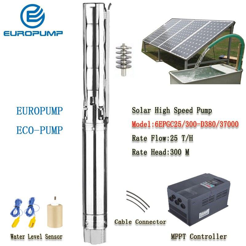 EUROPUMP Solar Pump High Power 6Inch 50HP outlet 4 Lift 300M Flow 25000LPH High Speed AC/DC Pump MODEL(6EPGC25/300 D380/37000)