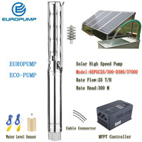 EUROPUMP Solar Pump High Power 6Inch 50HP outlet 4 Lift 300M Flow 25000LPH High Speed AC/DC Pump MODEL(6EPGC25/300 D380/37000)