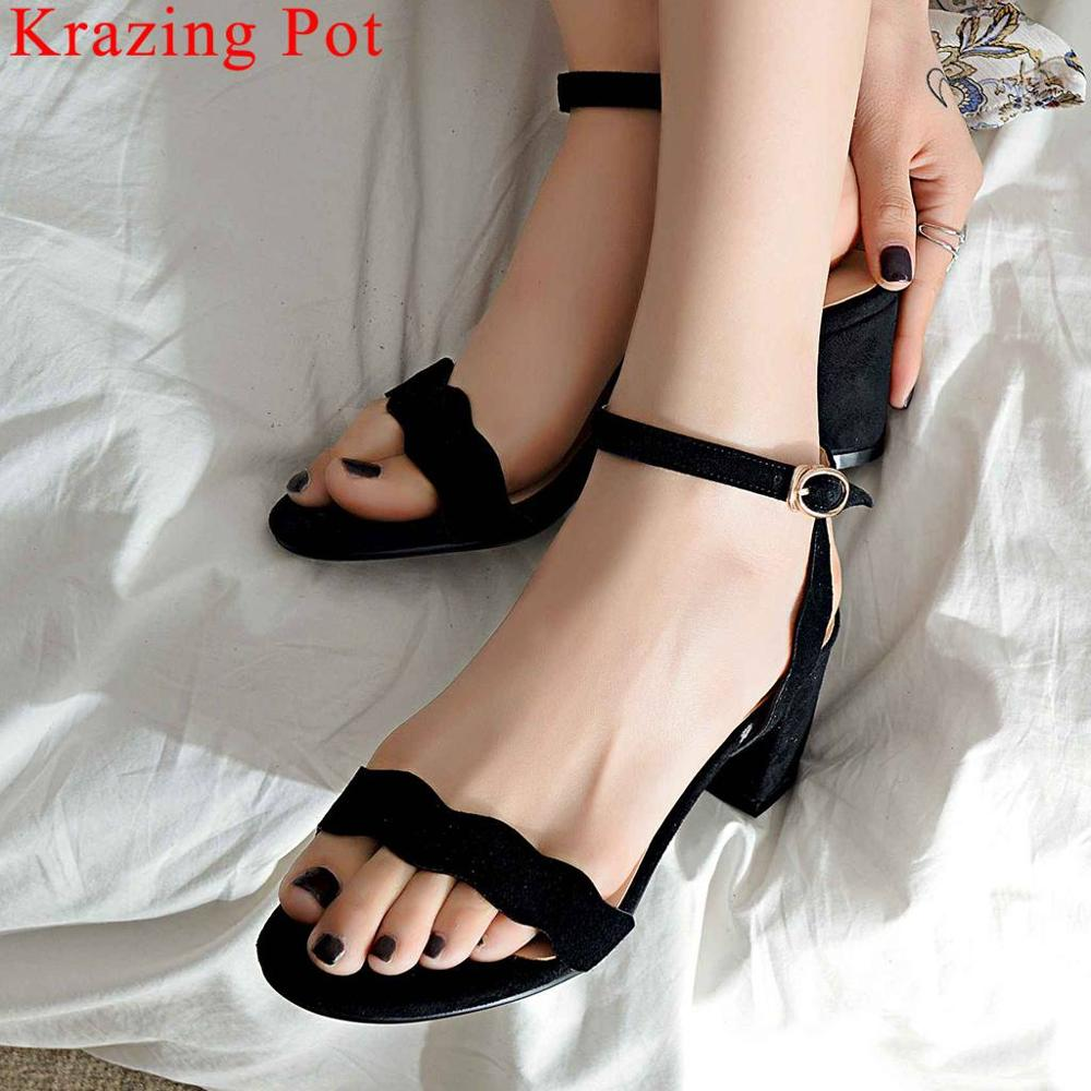 Krazing Pot new arrival natural leather thick high heels peep round toe buckle strap women sandals dating gathering shoes L34Krazing Pot new arrival natural leather thick high heels peep round toe buckle strap women sandals dating gathering shoes L34