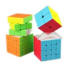 Qiyi XMD مجموعة مكعبات 4 مجموعة مكعبات سحرية تشمل 2x2 3x3x3 4x4x4 5x5x5 مكعب ستيكليس لتدريب الدماغ لعب الأطفال