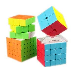 Image 1 - Qiyi XMD 4 Cubi Set Cubo Magico Set Comprende 2x2 3x3x3 4x4x4 5x5x5 Stickeless Cubo per il Cervello di Formazione giocattoli Per Bambini
