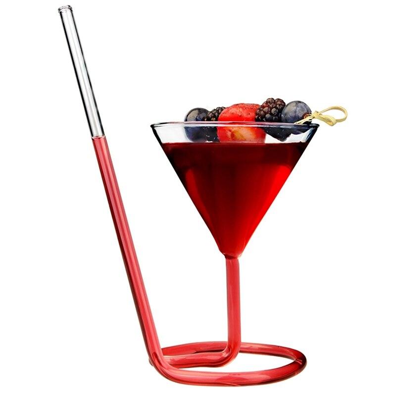 Criativo parafuso espiral palha molecular cocktail vidro bar festa vinho vidro martini champanhe vidro vinho charme