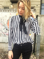 EQ 100 Silk Kate Moss Ladies Long Sleeve Balck White Striped Blouses Women Shirt With Ribbon