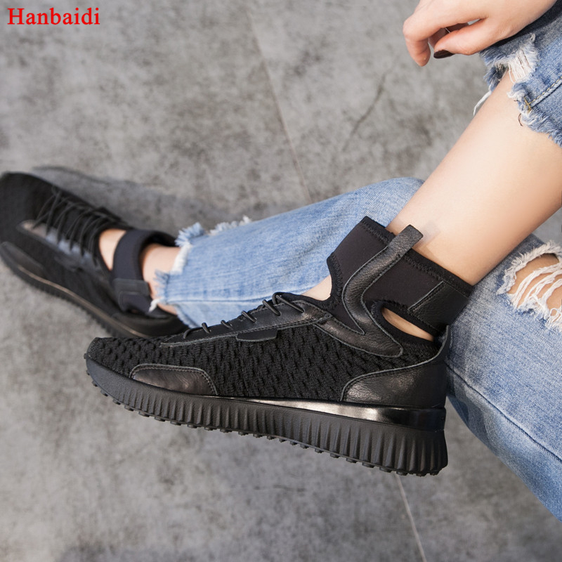Hanbaidi 2018 New Air Mesh Footwear Breathable Sneaker Women White Black Ankle Wrap Fashion Casual Shoes Woman Lace Up Trainers spring summer casual mesh shoes lovers flat shoes lace up breathable footwear female vintage sneaker trainers sapatos masculino
