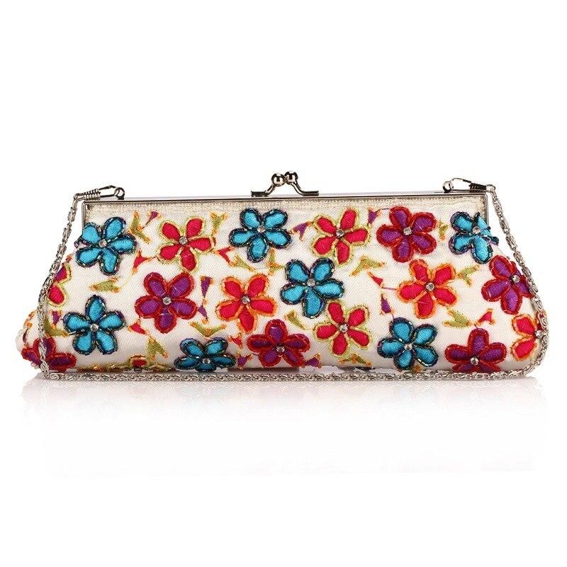 Sac à main en bambou fait main pour femme sac à main de soirée boucle fleurs en soie broderie sac à main perlé sac à bandoulière pour dames