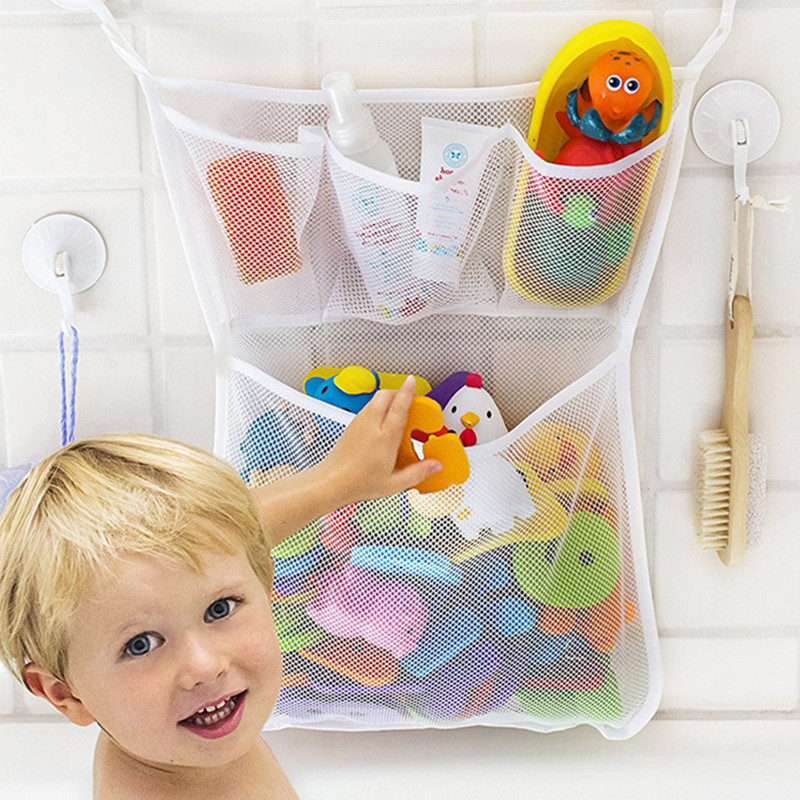 Bath Toys Kids Baby Tidy Storage Suction Cup Bag Bathroom Toy Folding Hanging Bag Suction Cup Baskets Mesh Storage Bag Water Toy